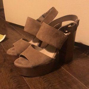 Tan suede, Platform block heels
